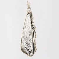 Sterling silver necklace rutilated quartz